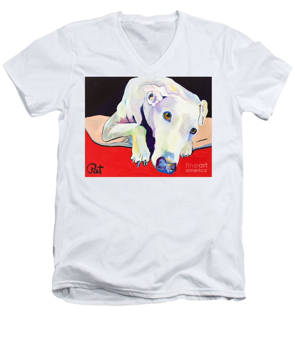 Animals Pets Greyhound Men's V-Neck T-Shirt featuring the painting Cyrus by Pat Saunders-White