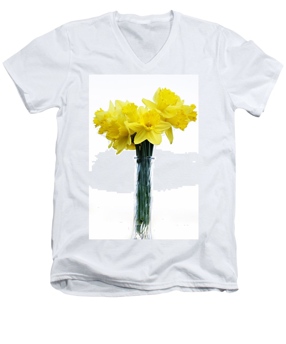 Daffodil Men's V-Neck T-Shirt featuring the photograph Daffodil by Marilyn Hunt