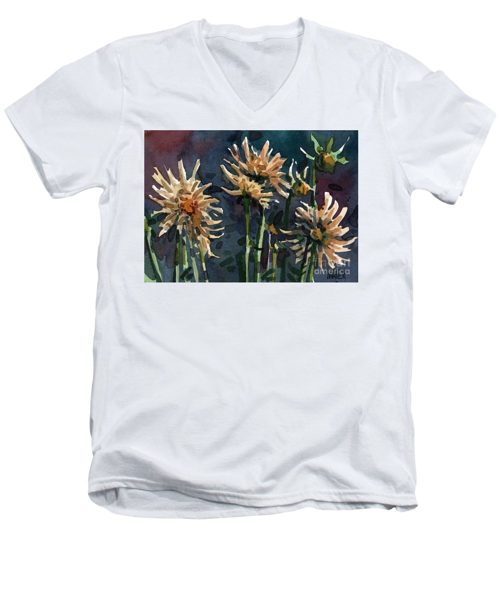 Floral Men's V-Neck T-Shirt featuring the painting Dahlias by Donald Maier