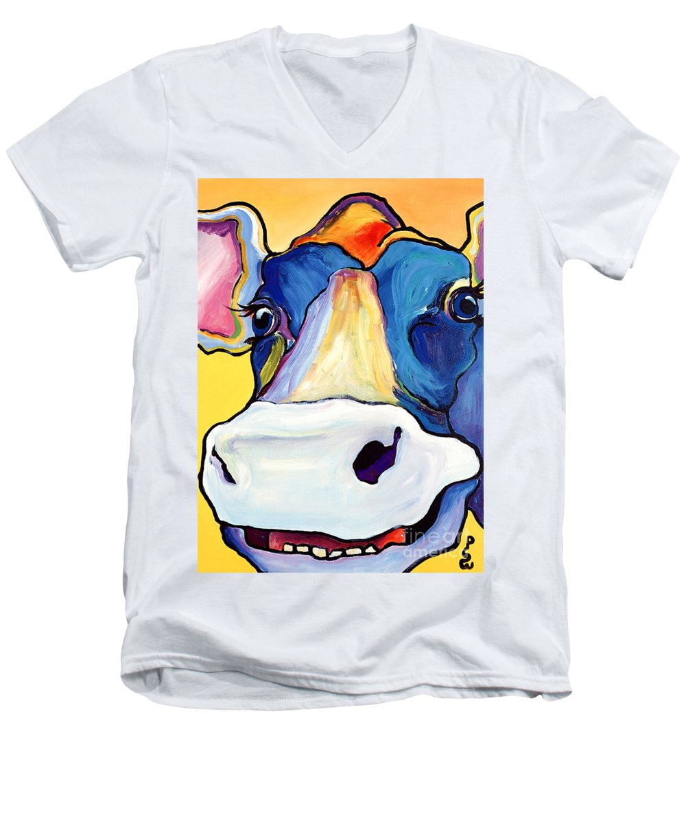 Cow Print Men's V-Neck T-Shirt featuring the painting Dairy Queen I  by Pat Saunders-White