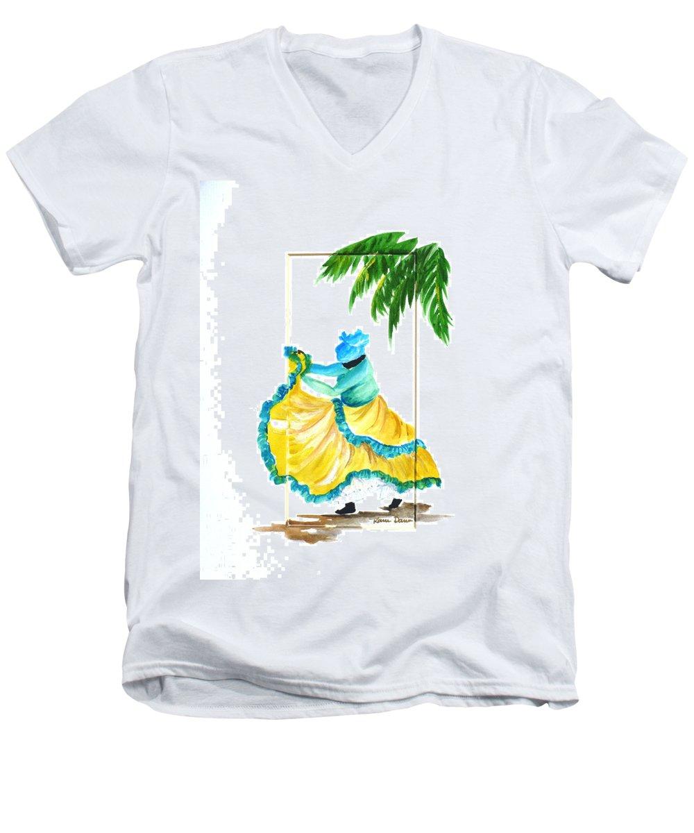 Dance Folk Caribbean Tropical Men's V-Neck T-Shirt featuring the painting Dance De Belaire by Karin Dawn Kelshall- Best