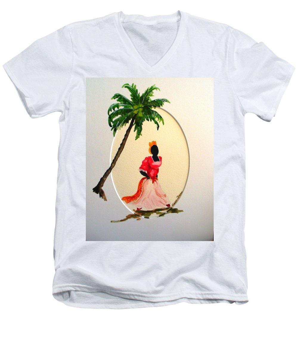 Caribbean Dancer Men's V-Neck T-Shirt featuring the painting Dancer 1 by Karin Dawn Kelshall- Best
