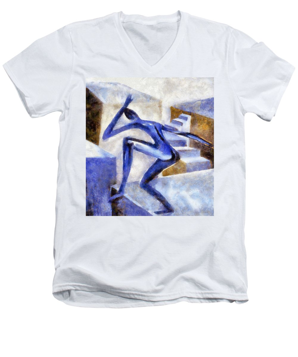 Conceptual Men's V-Neck T-Shirt featuring the painting Dancing Off The Edge Of The World by Michelle Calkins