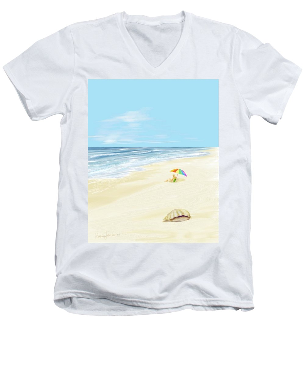 Beach Summer Sun Sand Waves Shells Men's V-Neck T-Shirt featuring the digital art Day At The Beach by Veronica Jackson