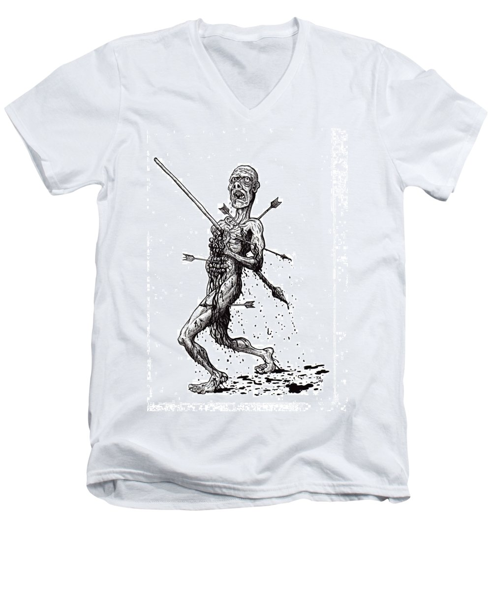 Dark Men's V-Neck T-Shirt featuring the drawing Death March by Tobey Anderson