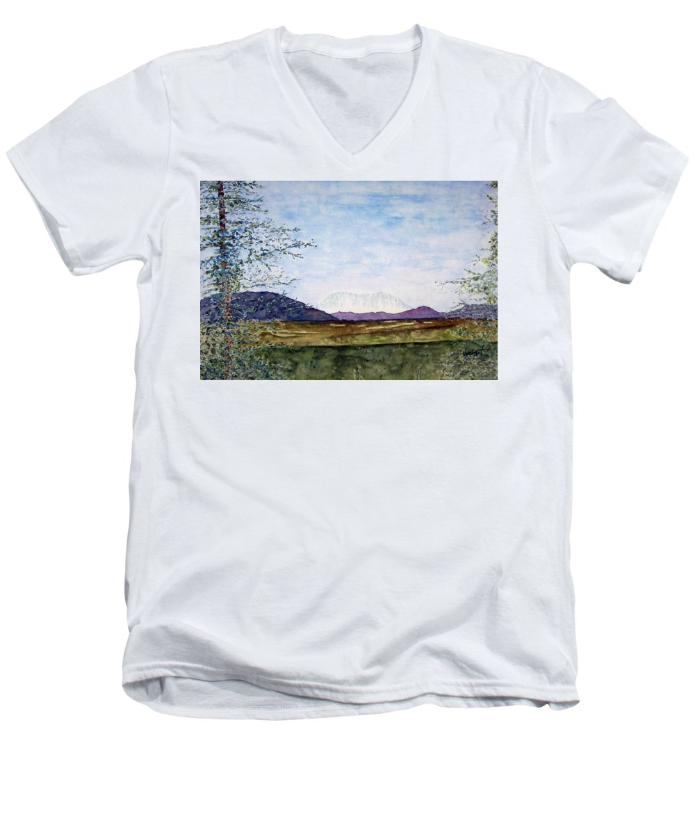 Alaska Art Men's V-Neck T-Shirt featuring the painting Denali In July by Larry Wright