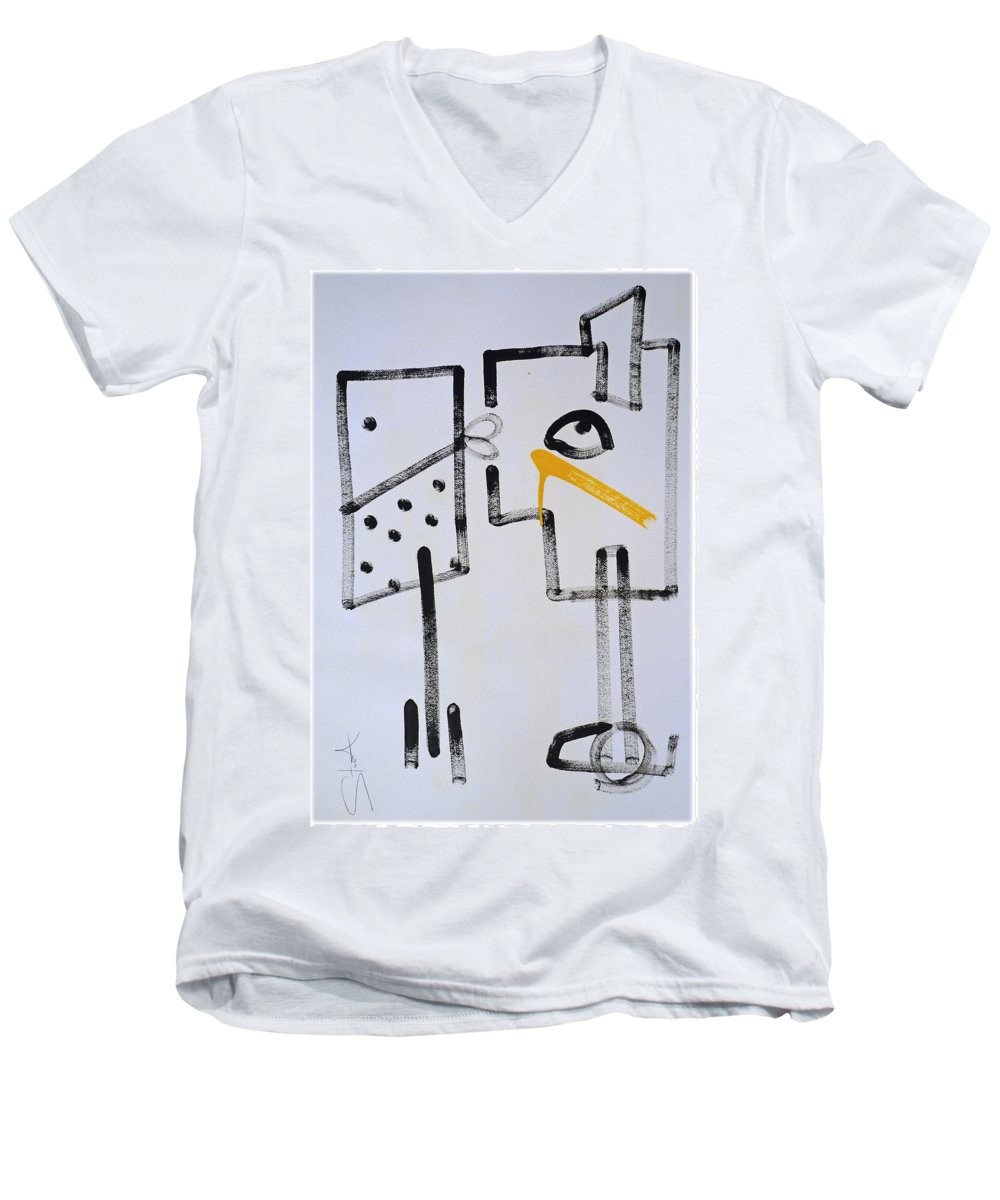 Drawing Men's V-Neck T-Shirt featuring the painting Desperados Waiting For A Train by Charles Stuart