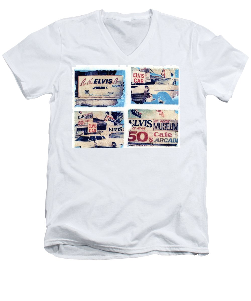 Elvis Men's V-Neck T-Shirt featuring the photograph Disgraceland by Jane Linders