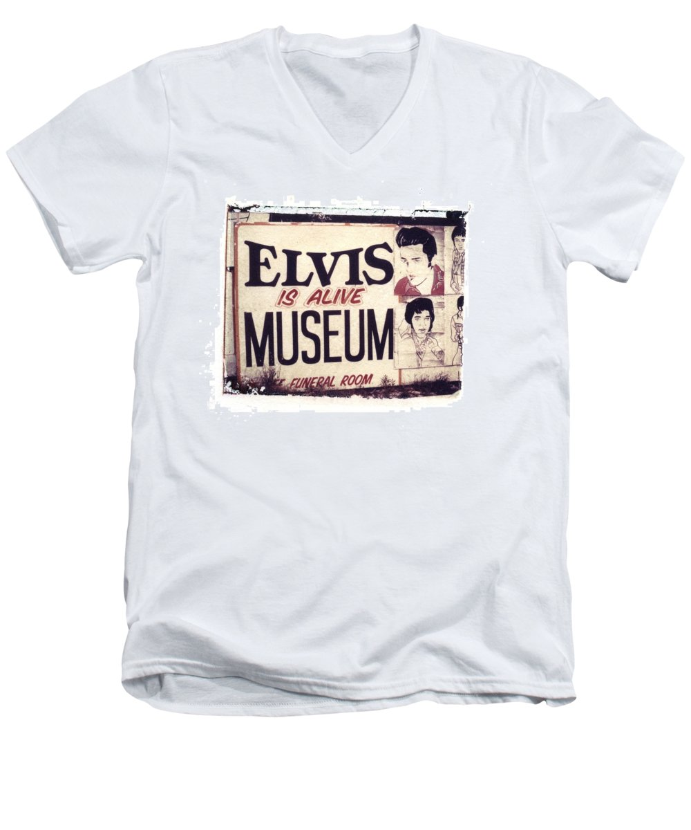 Polaroid Transfer Men's V-Neck T-Shirt featuring the photograph Disgraceland No. 2 by Jane Linders