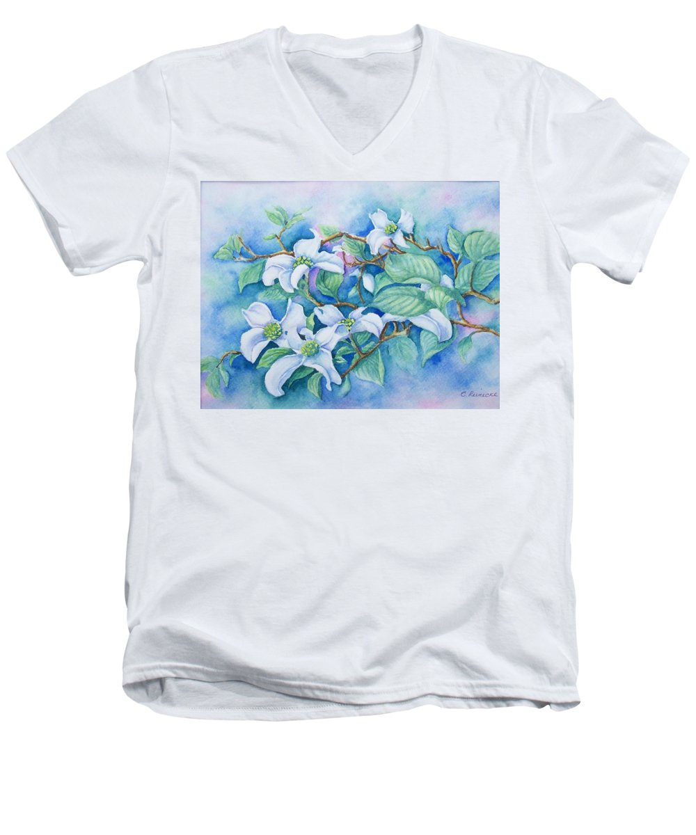 Floral Men's V-Neck T-Shirt featuring the painting Dogwood by Conni Reinecke