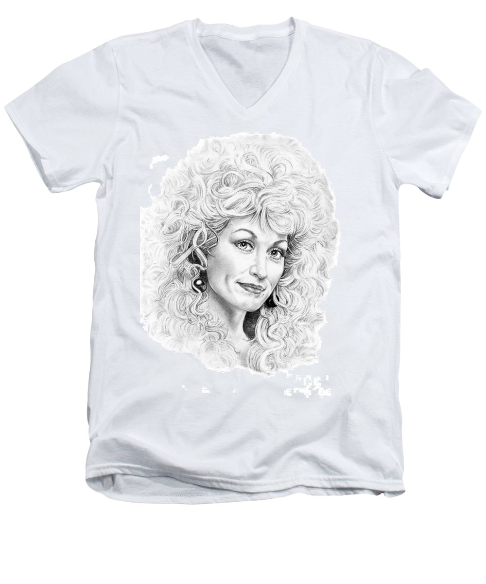 Portrait Men's V-Neck T-Shirt featuring the drawing Dolly Parton by Murphy Elliott