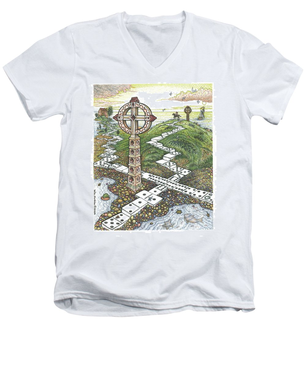 Landscape Men's V-Neck T-Shirt featuring the drawing Domino Crosses by Bill Perkins