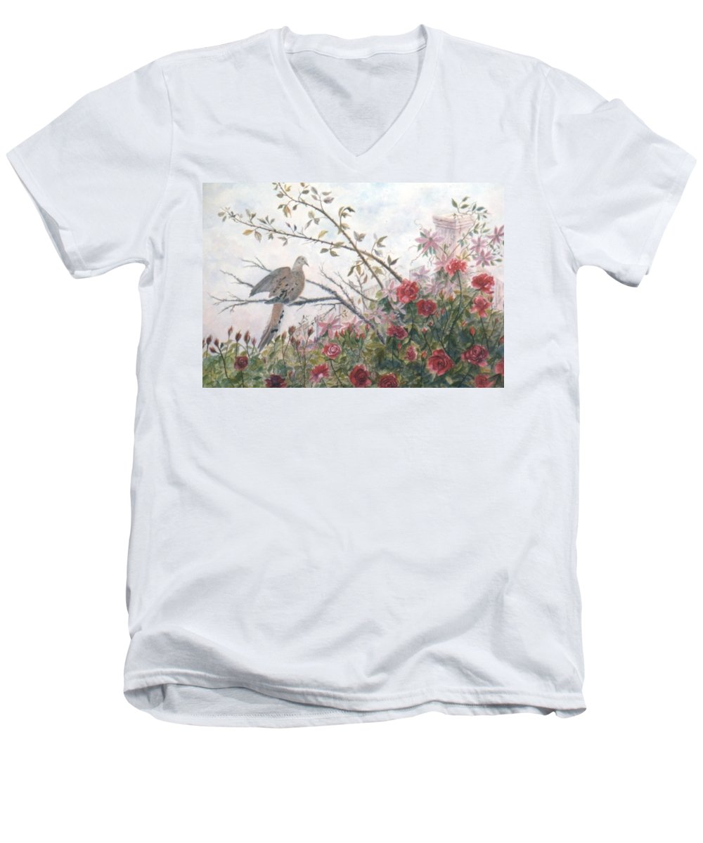 Dove; Roses Men's V-Neck T-Shirt featuring the painting Dove And Roses by Ben Kiger