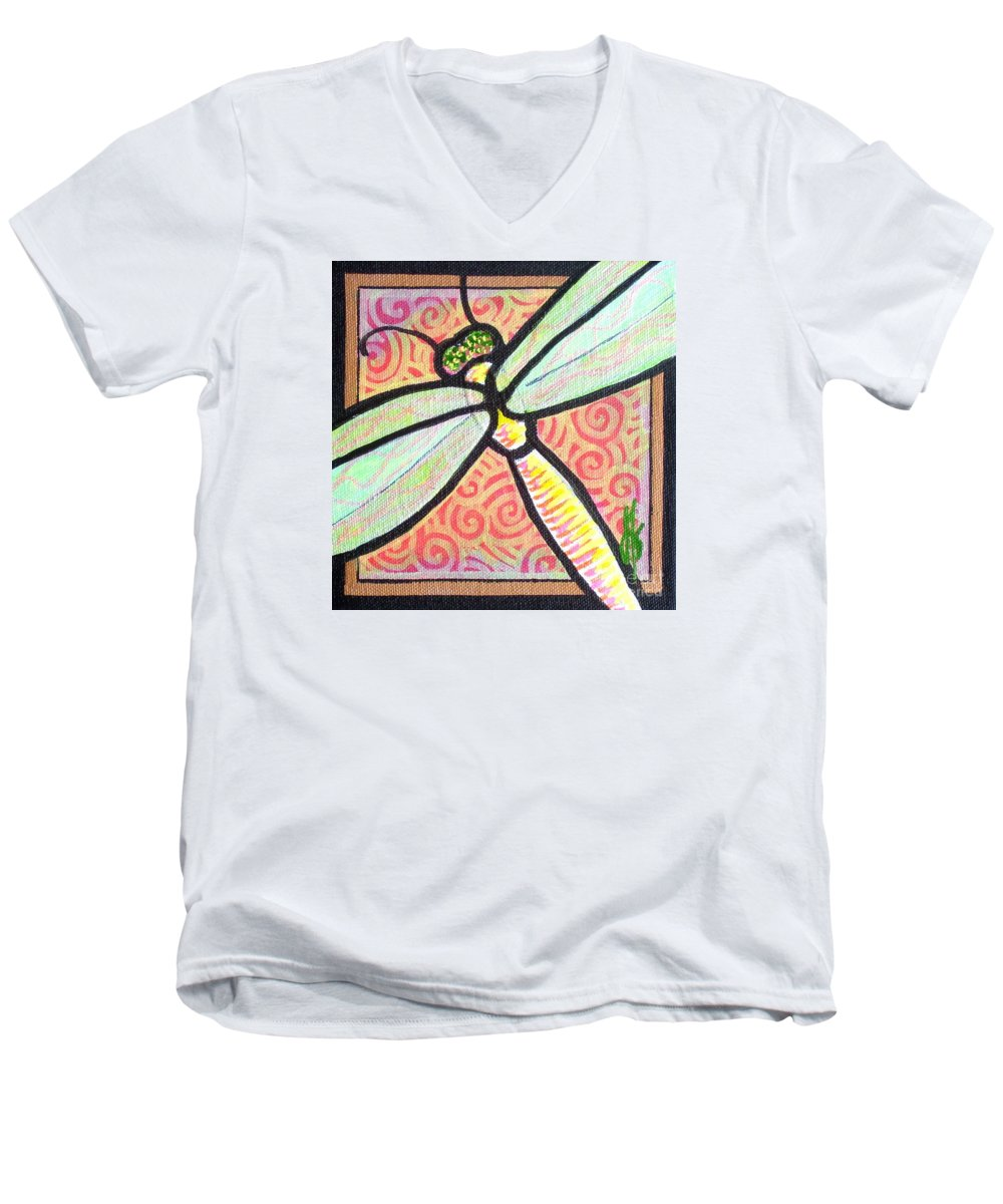 Dragonfly Men's V-Neck T-Shirt featuring the painting Dragonfly Fantasy 3 by Jim Harris