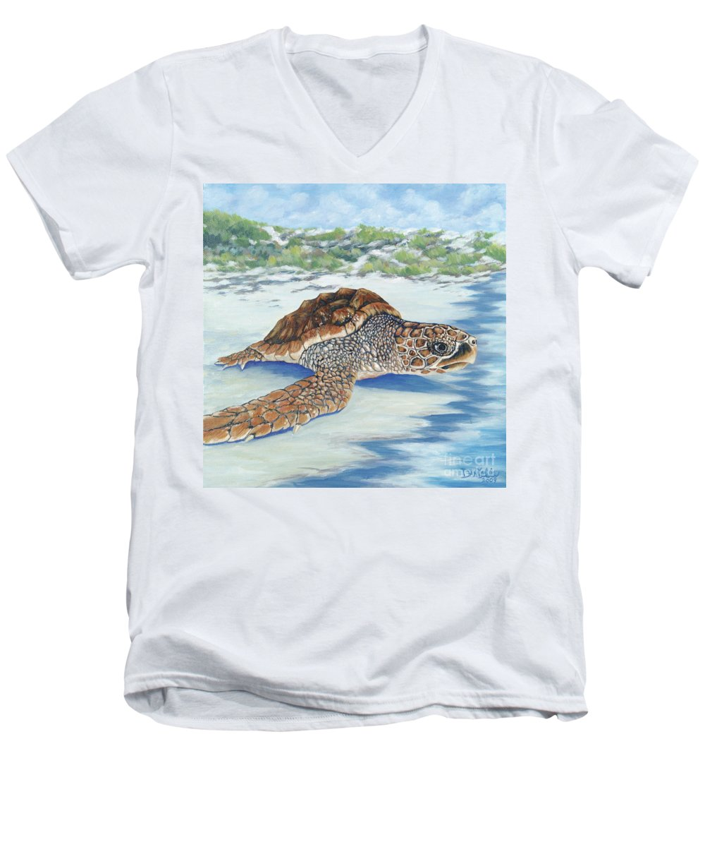 Sea Turtle Men's V-Neck T-Shirt featuring the painting Dreaming Of Islands by Danielle Perry