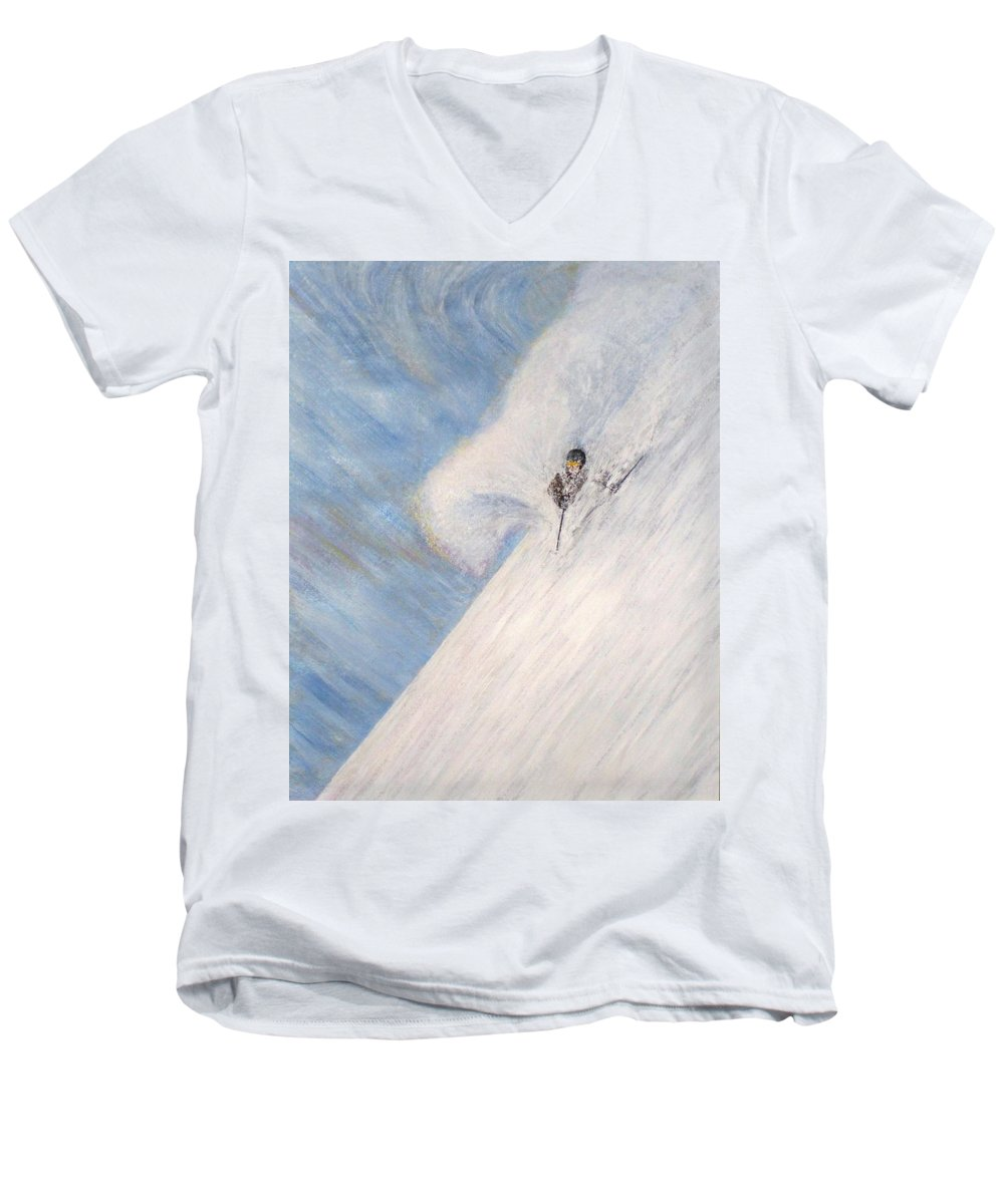 Landscape Men's V-Neck T-Shirt featuring the painting Dreamsareal by Michael Cuozzo