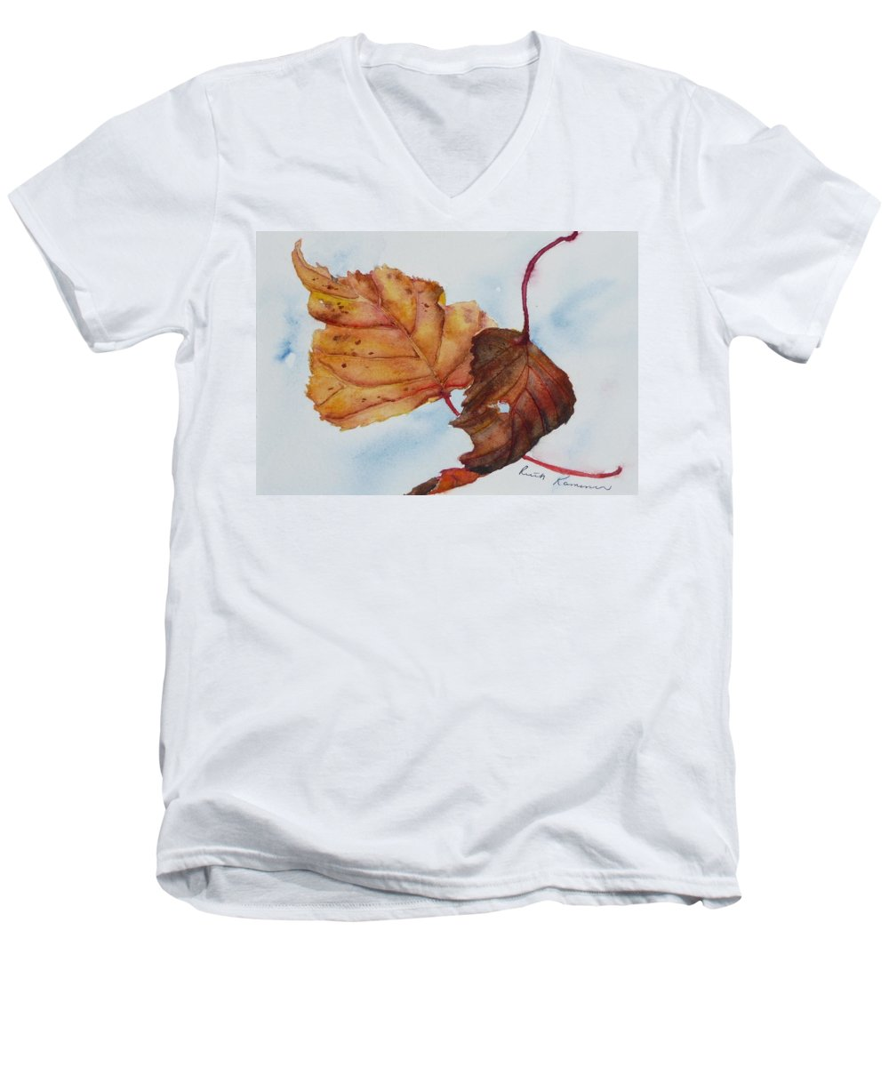 Fall Men's V-Neck T-Shirt featuring the painting Drifting by Ruth Kamenev