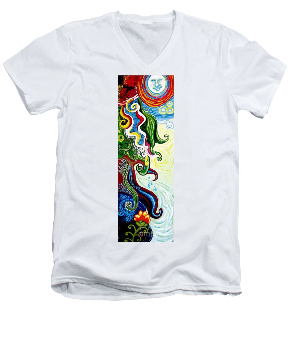 Mother Earth Men's V-Neck T-Shirt featuring the painting Earths Tears by Genevieve Esson