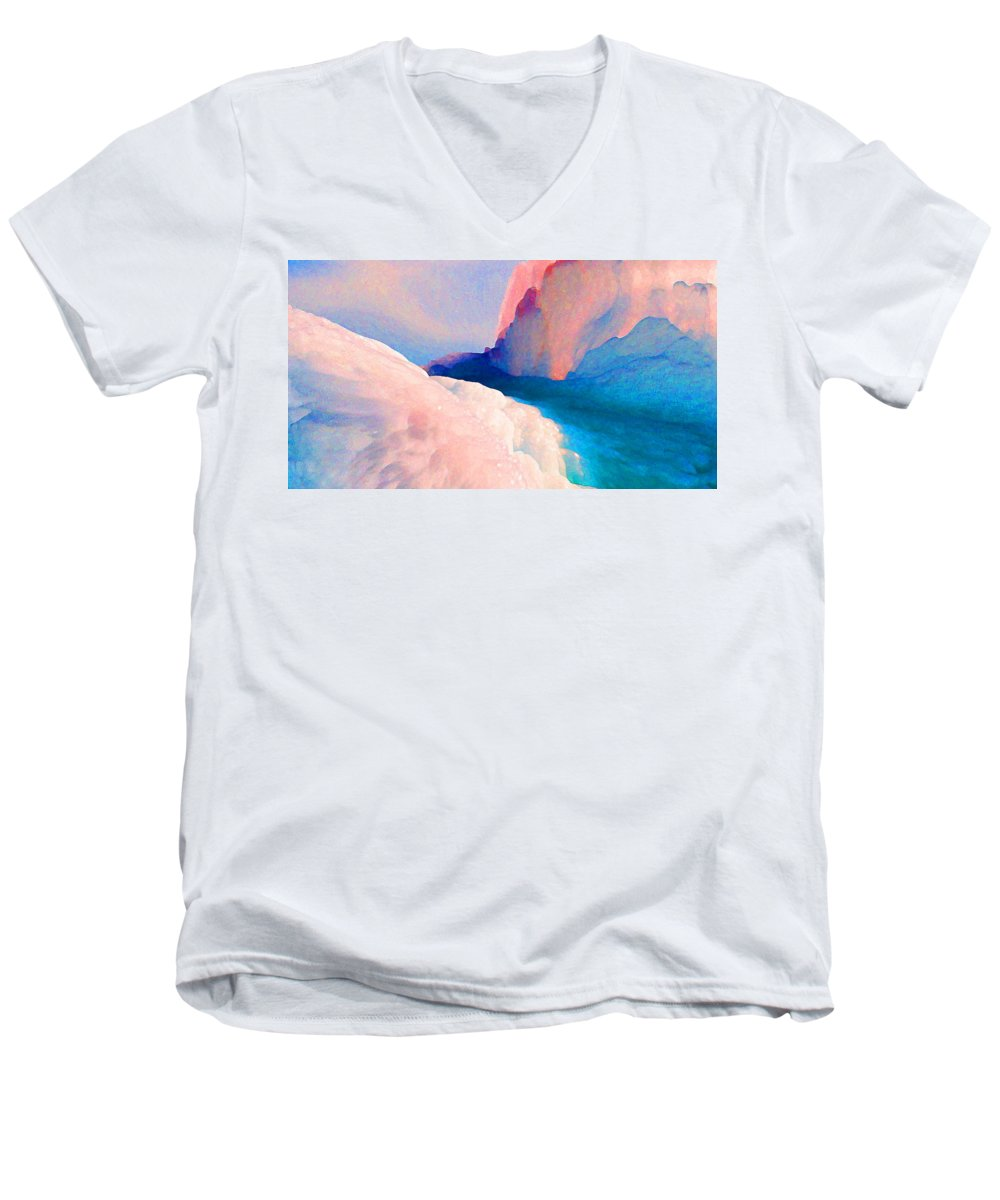 Abstract Men's V-Neck T-Shirt featuring the photograph Ebb And Flow by Steve Karol