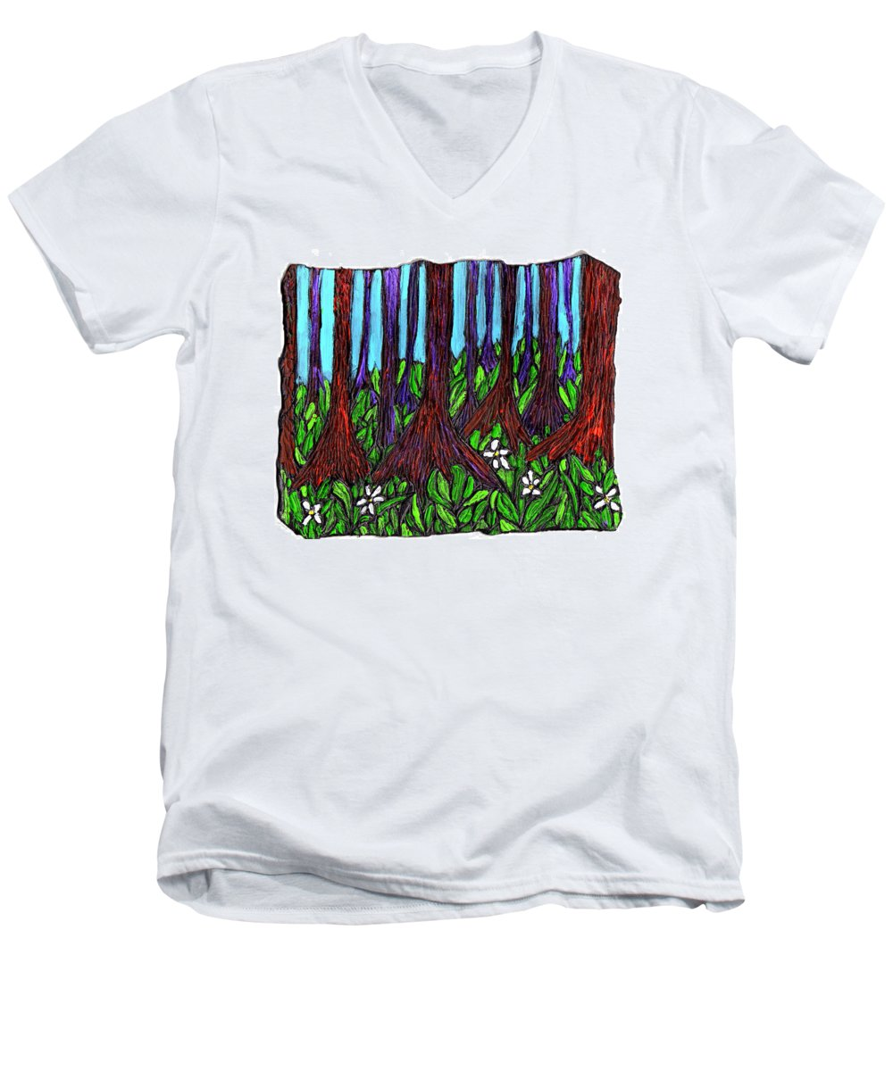 Trees Men's V-Neck T-Shirt featuring the painting Edge Of The Swamp by Wayne Potrafka
