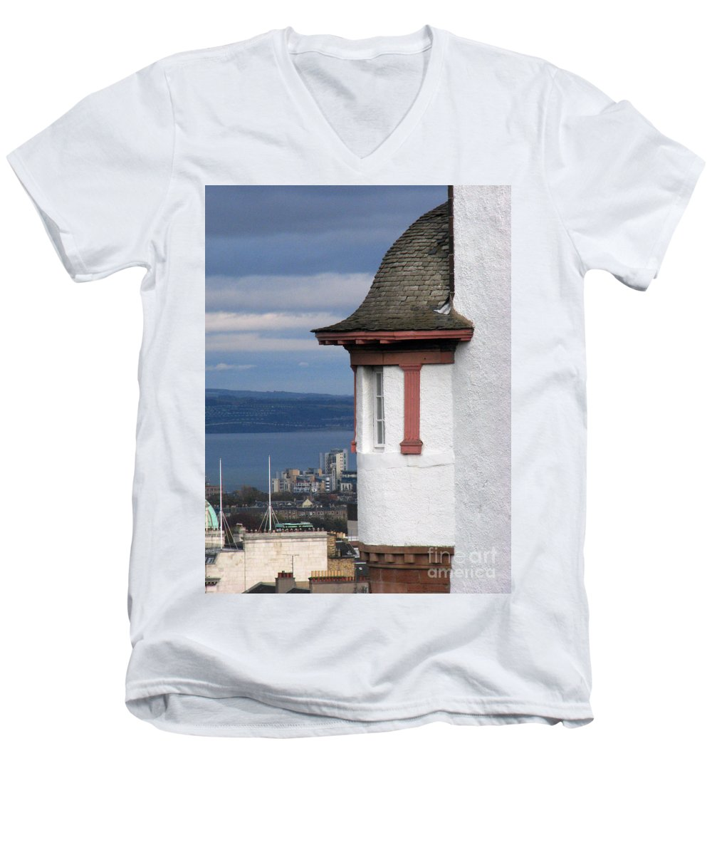 Scotland Men's V-Neck T-Shirt featuring the digital art Edinburgh Scotland by Amanda Barcon