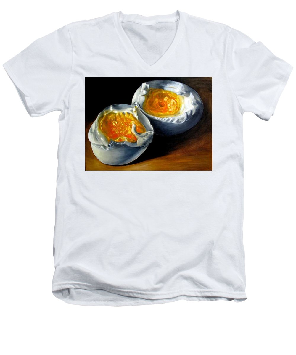 Eggs Men's V-Neck T-Shirt featuring the painting Eggs Contemporary Oil Painting On Canvas by Natalja Picugina