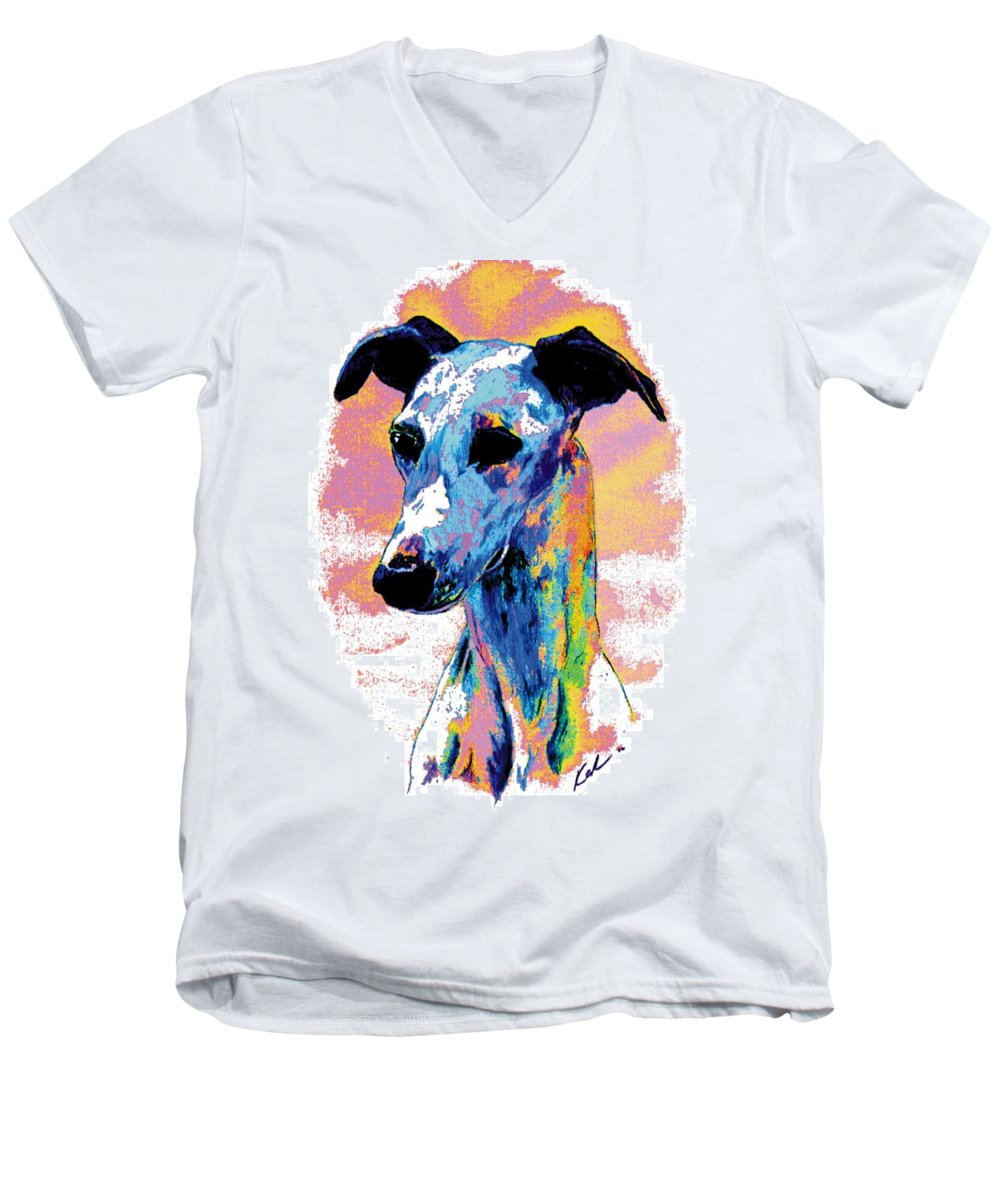 Electric Whippet Men's V-Neck T-Shirt featuring the digital art Electric Whippet by Kathleen Sepulveda