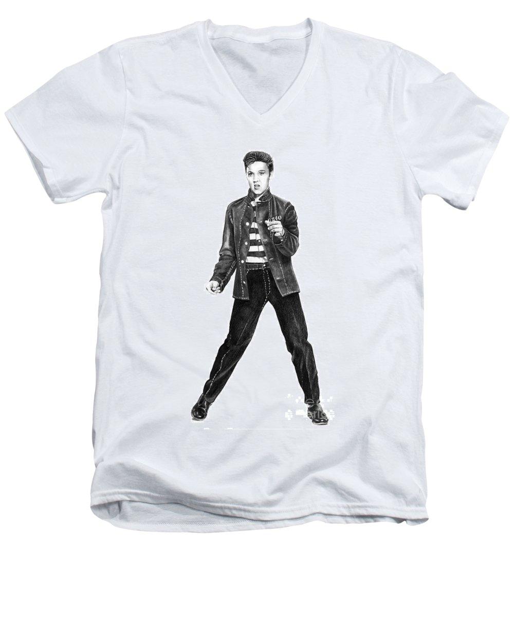 Elvis Men's V-Neck T-Shirt featuring the drawing Elvis Presley  by Murphy Elliott