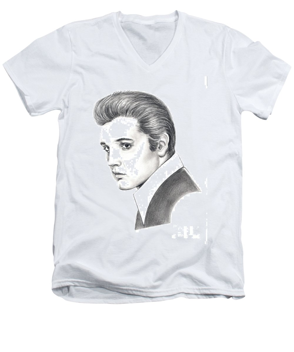 Pencil. Portrait Men's V-Neck T-Shirt featuring the drawing Elvis Presley by Murphy Elliott