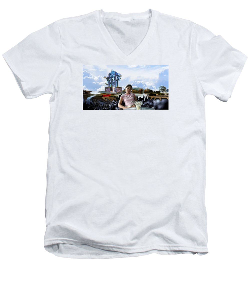 Spacem Maine Men's V-Neck T-Shirt featuring the digital art Emma's Afternoon Snack by Dave Martsolf