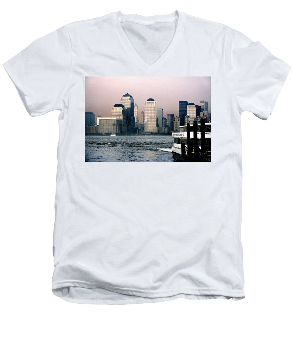 New York Men's V-Neck T-Shirt featuring the photograph Empty Sky by Steve Karol