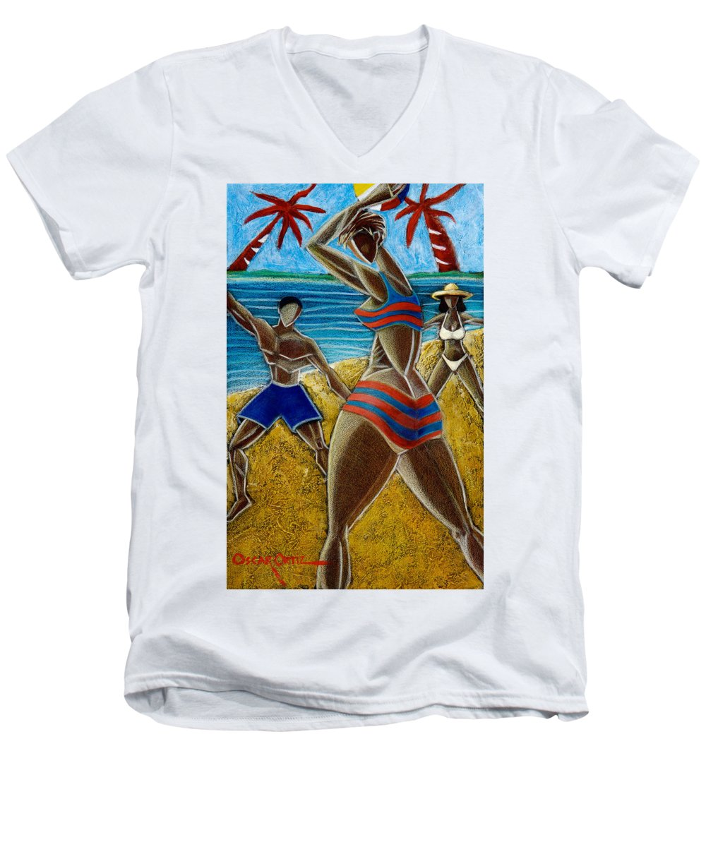 Beach Men's V-Neck T-Shirt featuring the painting En Luquillo Se Goza by Oscar Ortiz