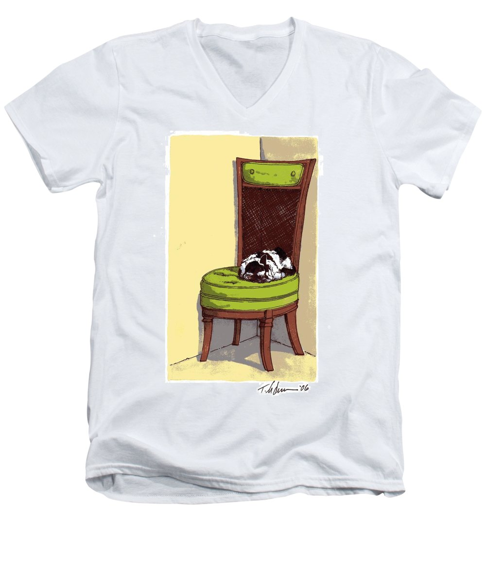 Cat Men's V-Neck T-Shirt featuring the drawing Ernie And Green Chair by Tobey Anderson