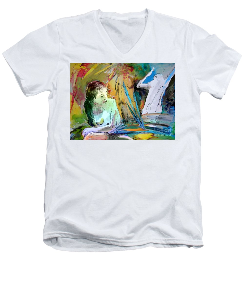 Miki Men's V-Neck T-Shirt featuring the painting Eroscape 15 1 by Miki De Goodaboom