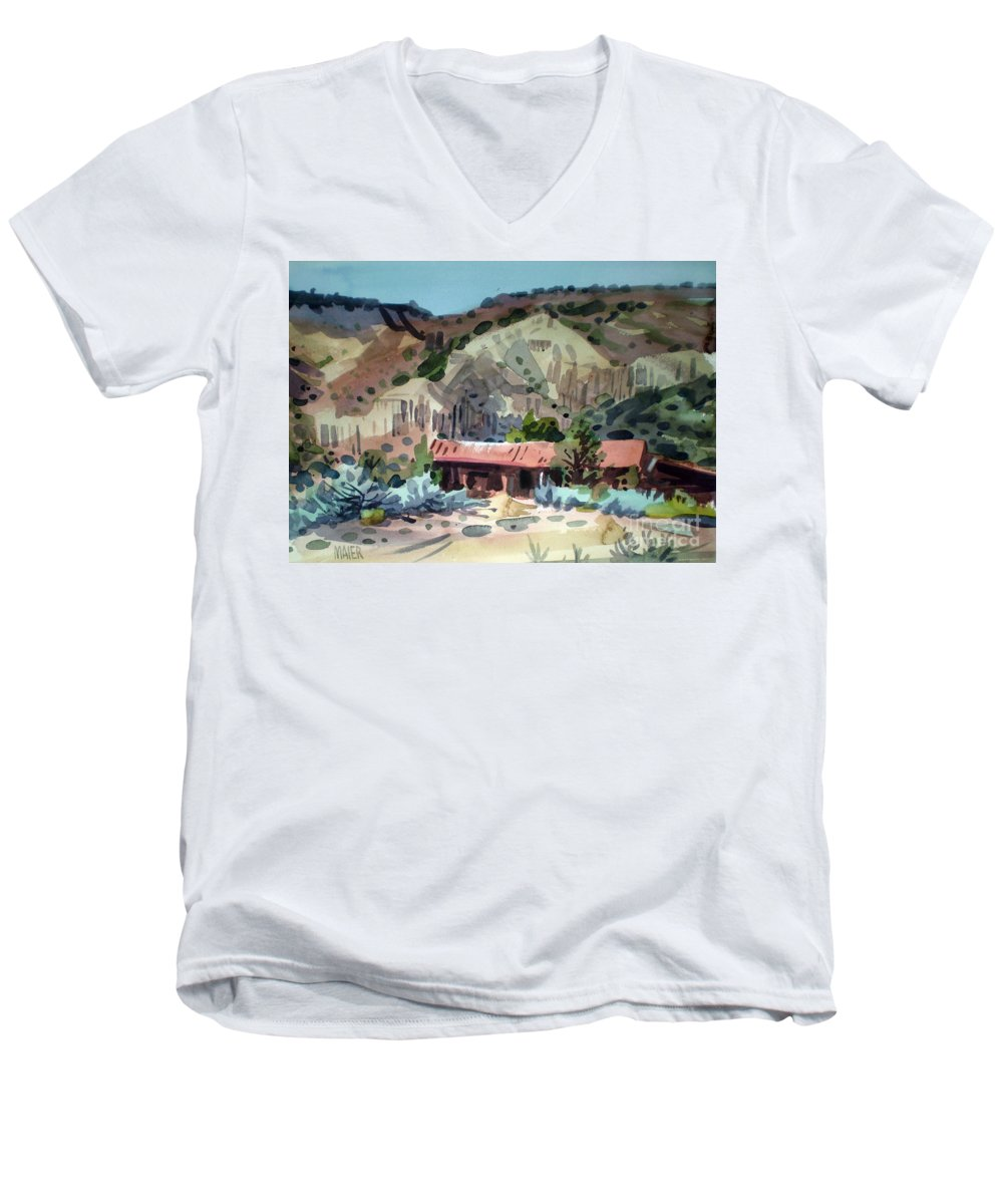 New Mexico Men's V-Neck T-Shirt featuring the painting Espanola On The Rio Grande by Donald Maier