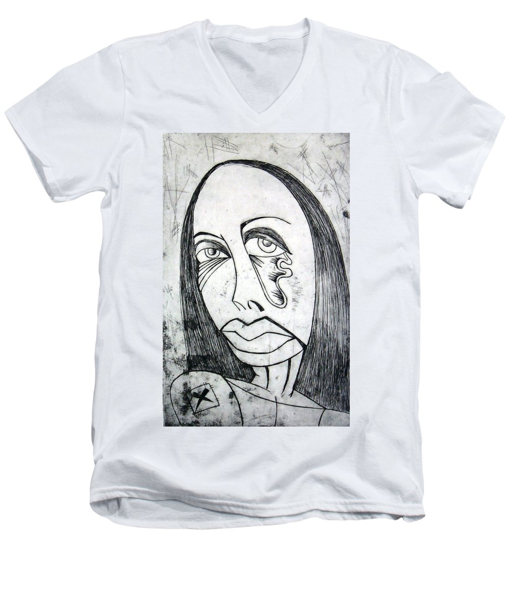 Girl Men's V-Neck T-Shirt featuring the print Etching by Thomas Valentine
