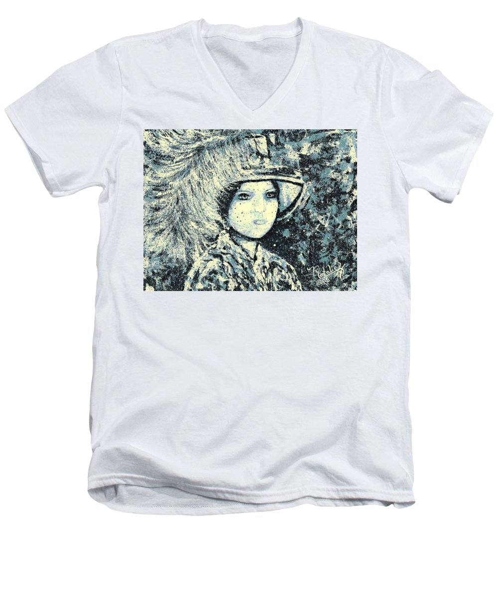 Woman Men's V-Neck T-Shirt featuring the painting Evalina by Natalie Holland