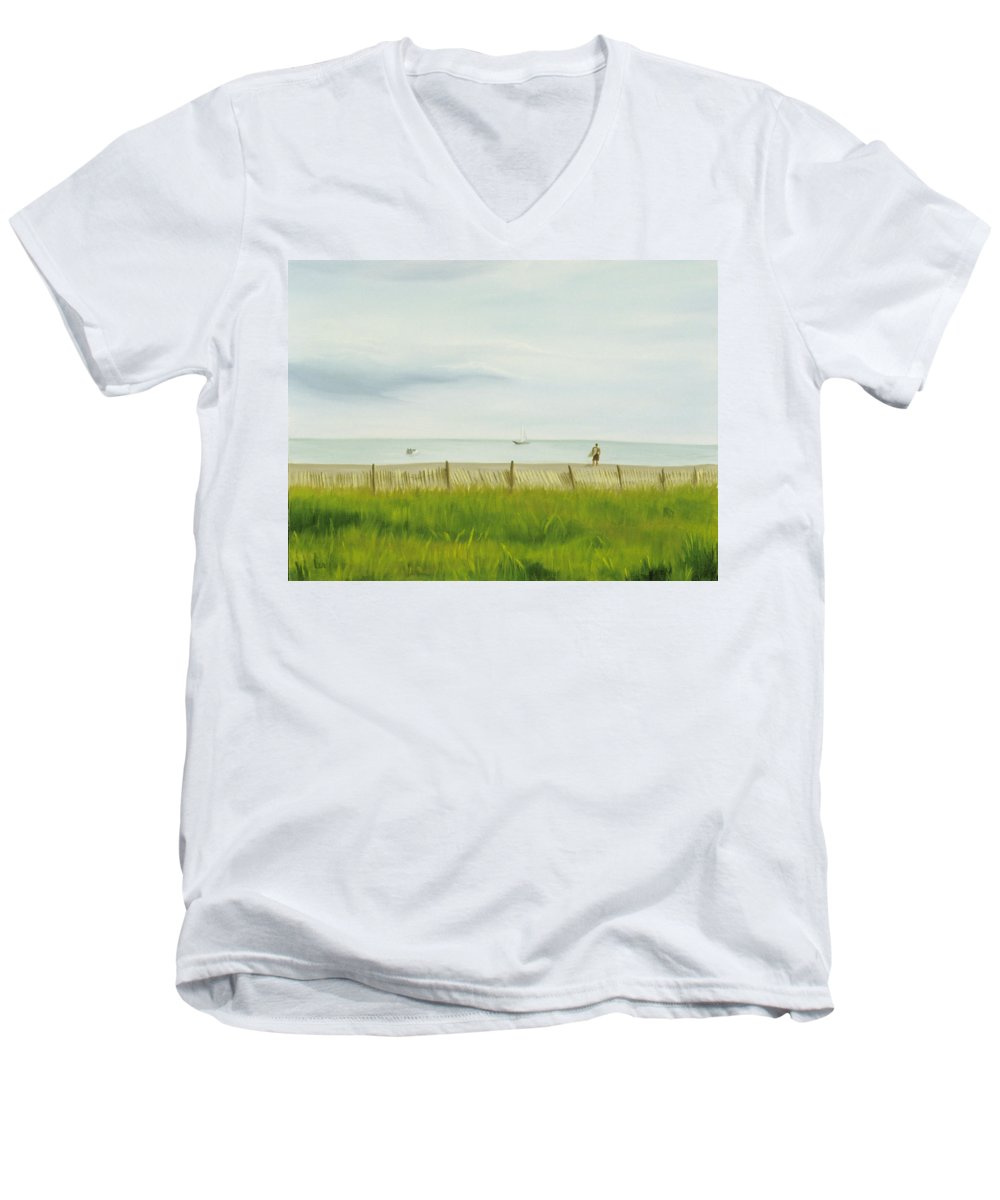 Seascape Men's V-Neck T-Shirt featuring the painting Evening At Cape May by Lea Novak