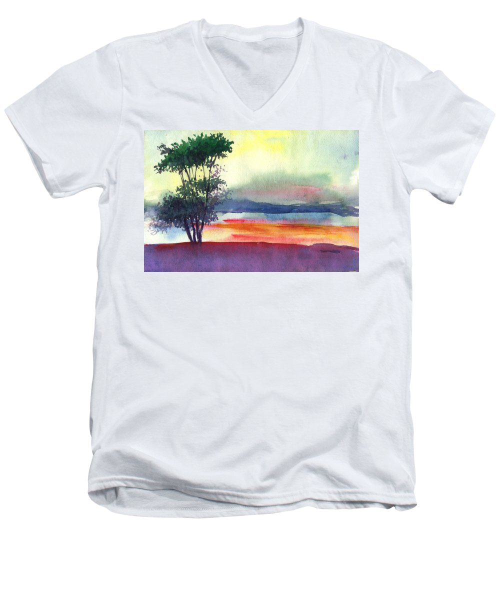 Water Color Men's V-Neck T-Shirt featuring the painting Evening Lights by Anil Nene