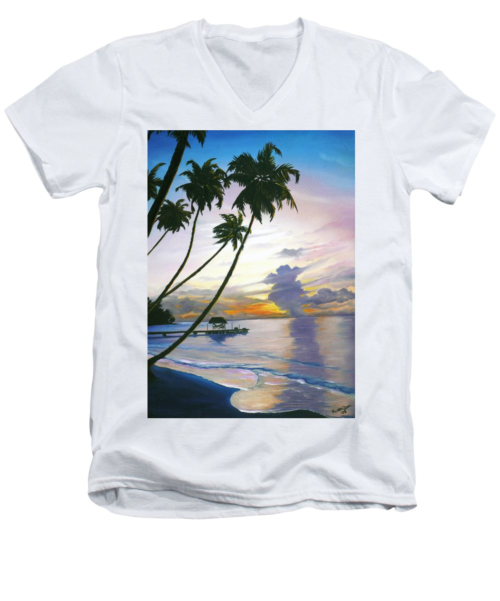 Ocean Painting Seascape Painting Beach Painting Sunset Painting Tropical Painting Tropical Painting Palm Tree Painting Tobago Painting Caribbean Painting Original Oil Of The Sun Setting Over Pigeon Point Tobago Men's V-Neck T-Shirt featuring the painting Eventide Tobago by Karin Dawn Kelshall- Best