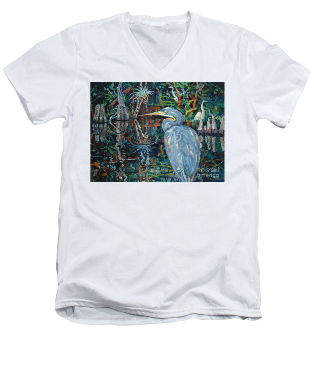 Blue Herron Men's V-Neck T-Shirt featuring the painting Everglades by Donald Maier