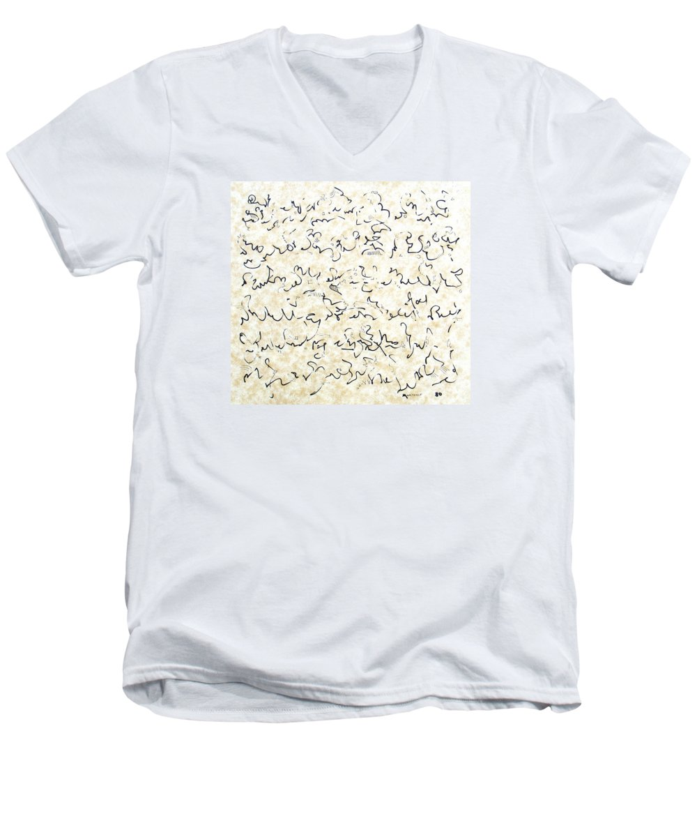 Calligraphy Men's V-Neck T-Shirt featuring the drawing Executive Summary With Notes by Dave Martsolf