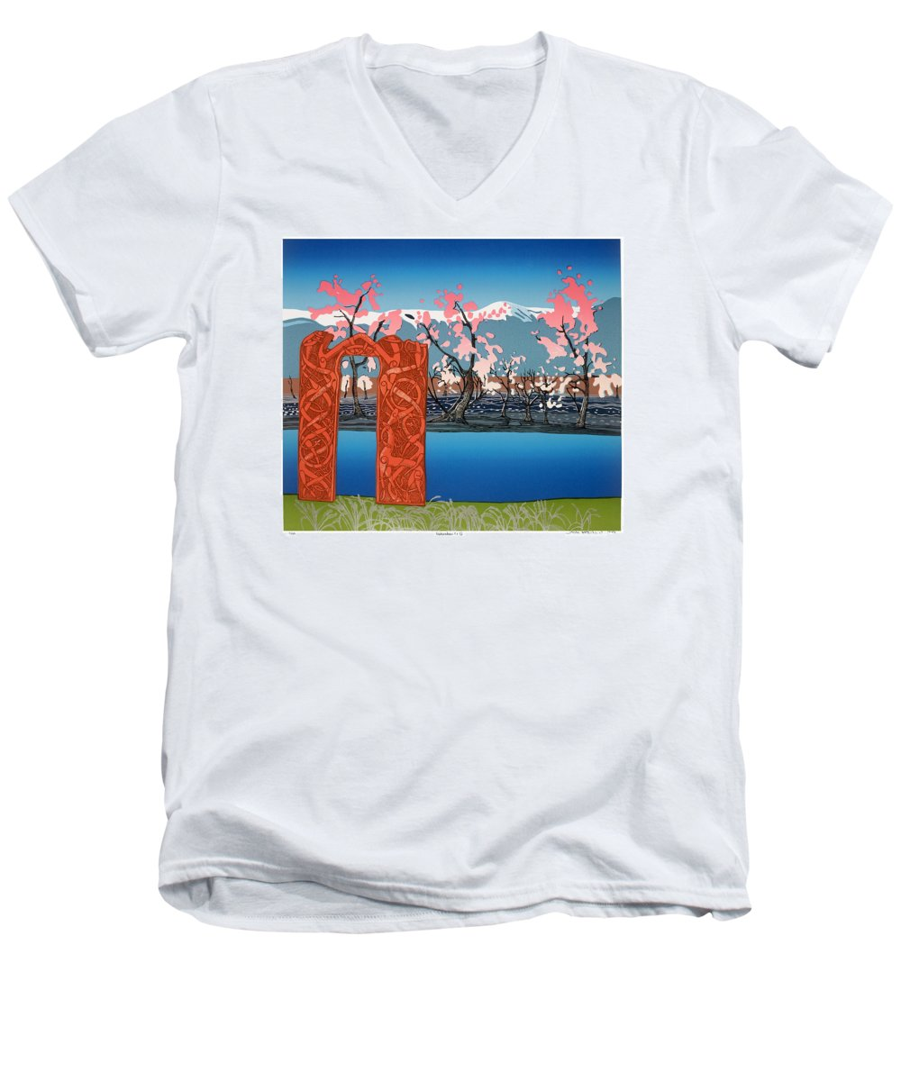 Landscape Men's V-Neck T-Shirt featuring the mixed media Exploration. by Jarle Rosseland