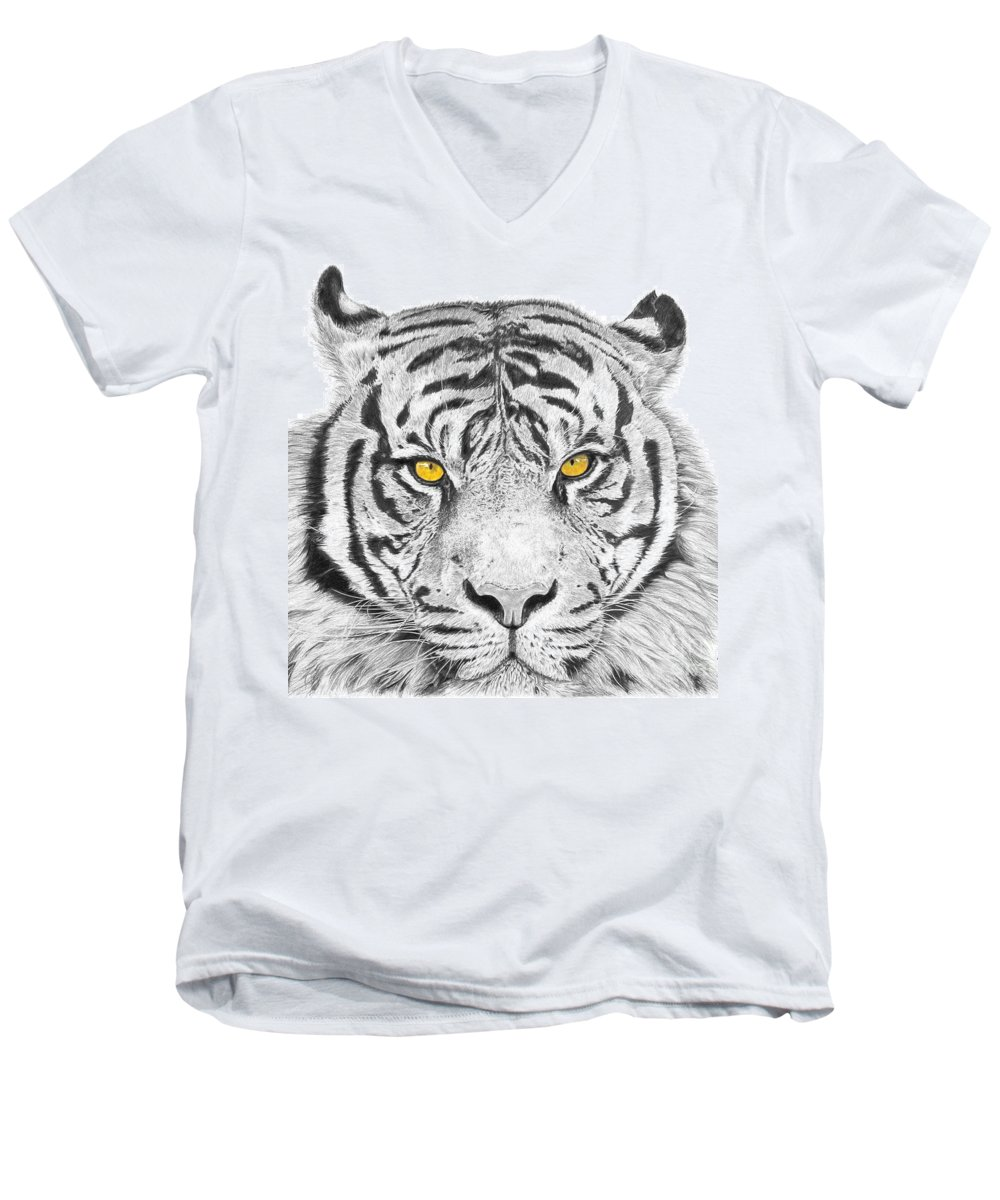 Tiger Men's V-Neck T-Shirt featuring the drawing Eyes Of The Tiger by Shawn Stallings