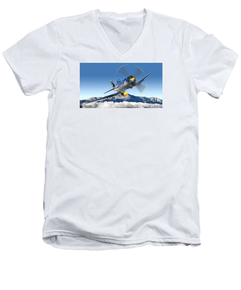 F4-u Corsair Men's V-Neck T-Shirt featuring the photograph F4-u Corsair by Larry McManus