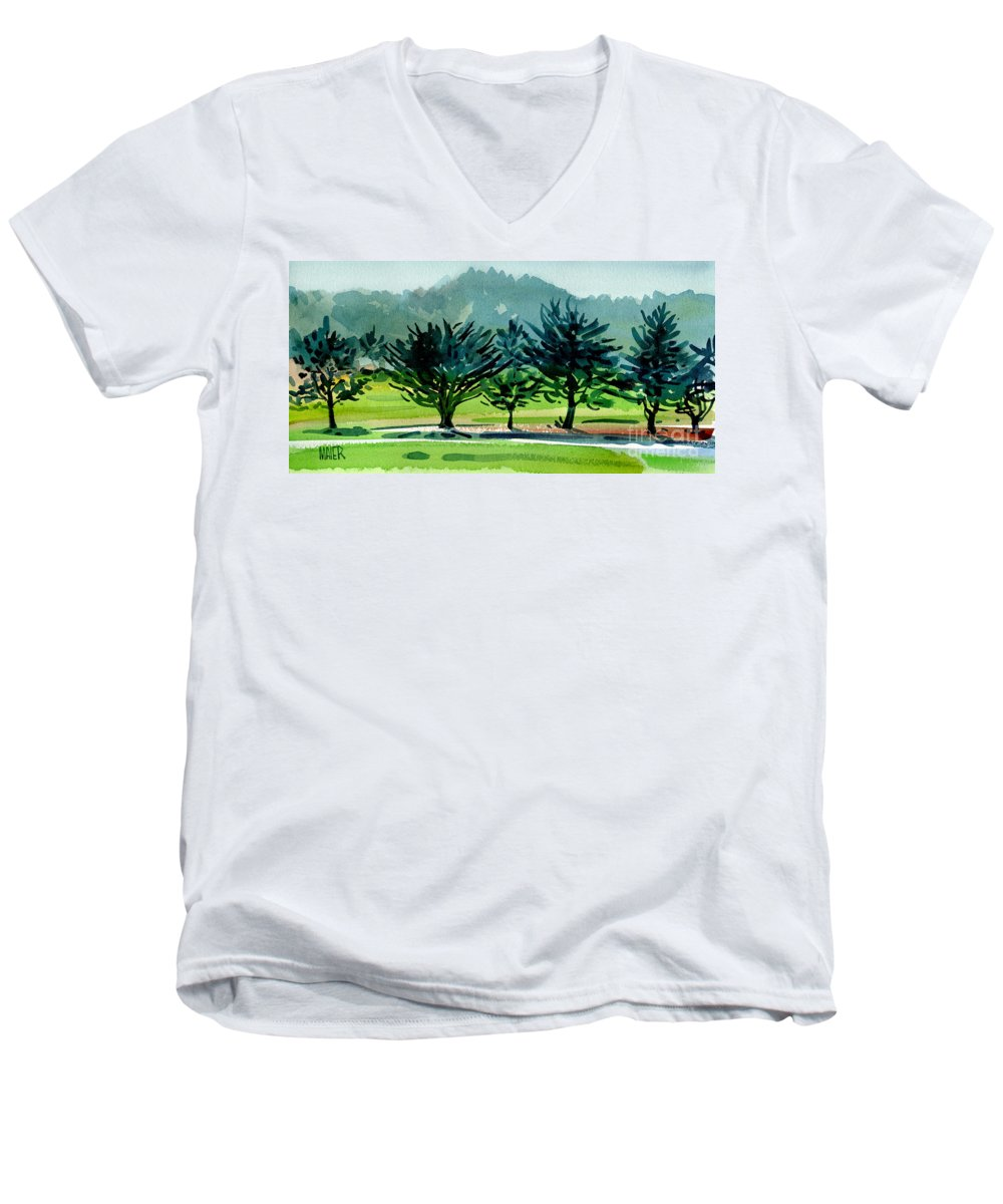 Crystal Springs Men's V-Neck T-Shirt featuring the painting Fairway Junipers by Donald Maier
