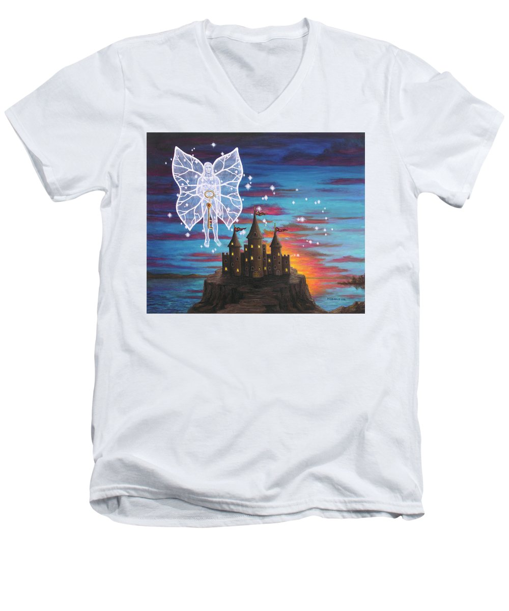 Fantasy Men's V-Neck T-Shirt featuring the painting Fairy Takes The Key by Roz Eve