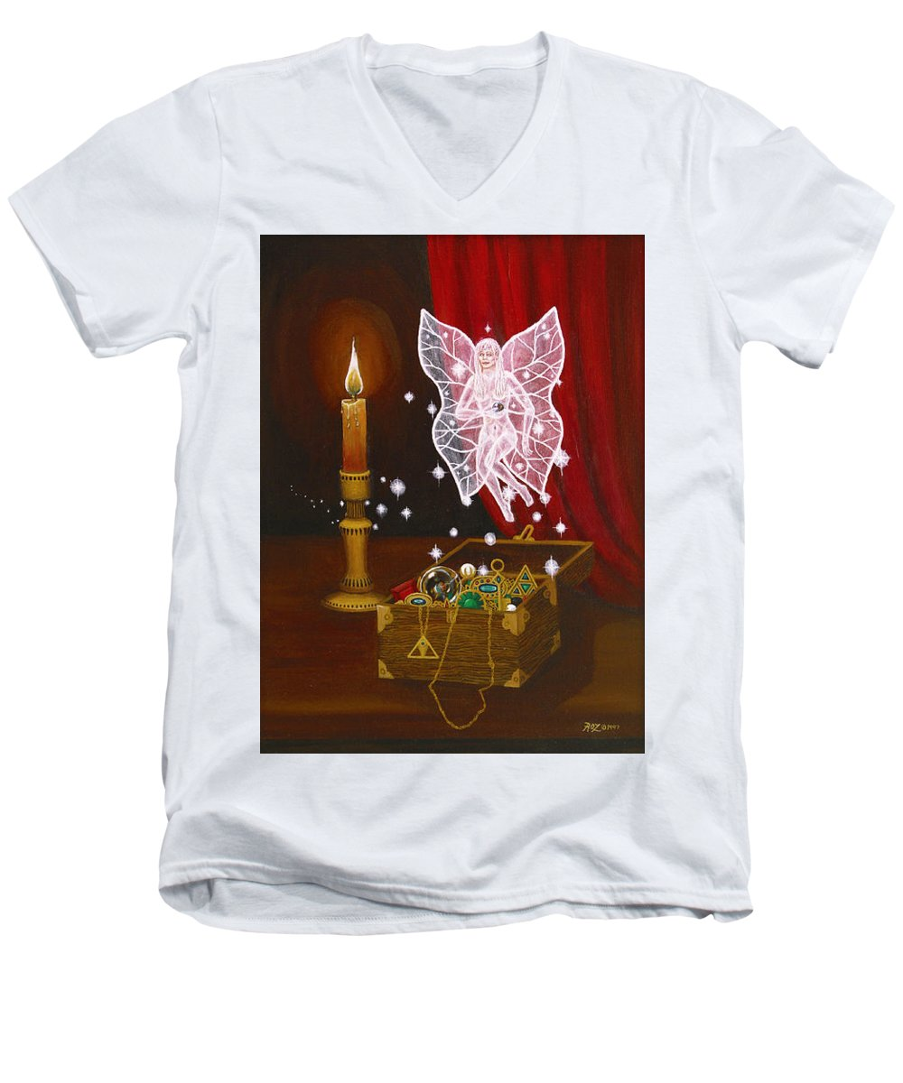Fairy Men's V-Neck T-Shirt featuring the painting Fairy Treasure by Roz Eve