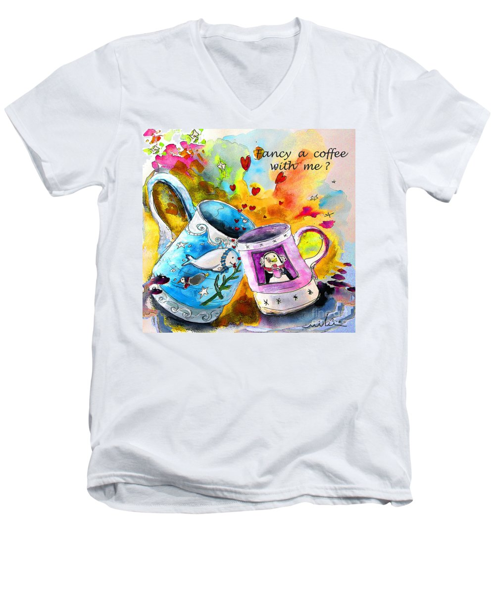 Cafe Crem Men's V-Neck T-Shirt featuring the painting Fancy A Coffee by Miki De Goodaboom