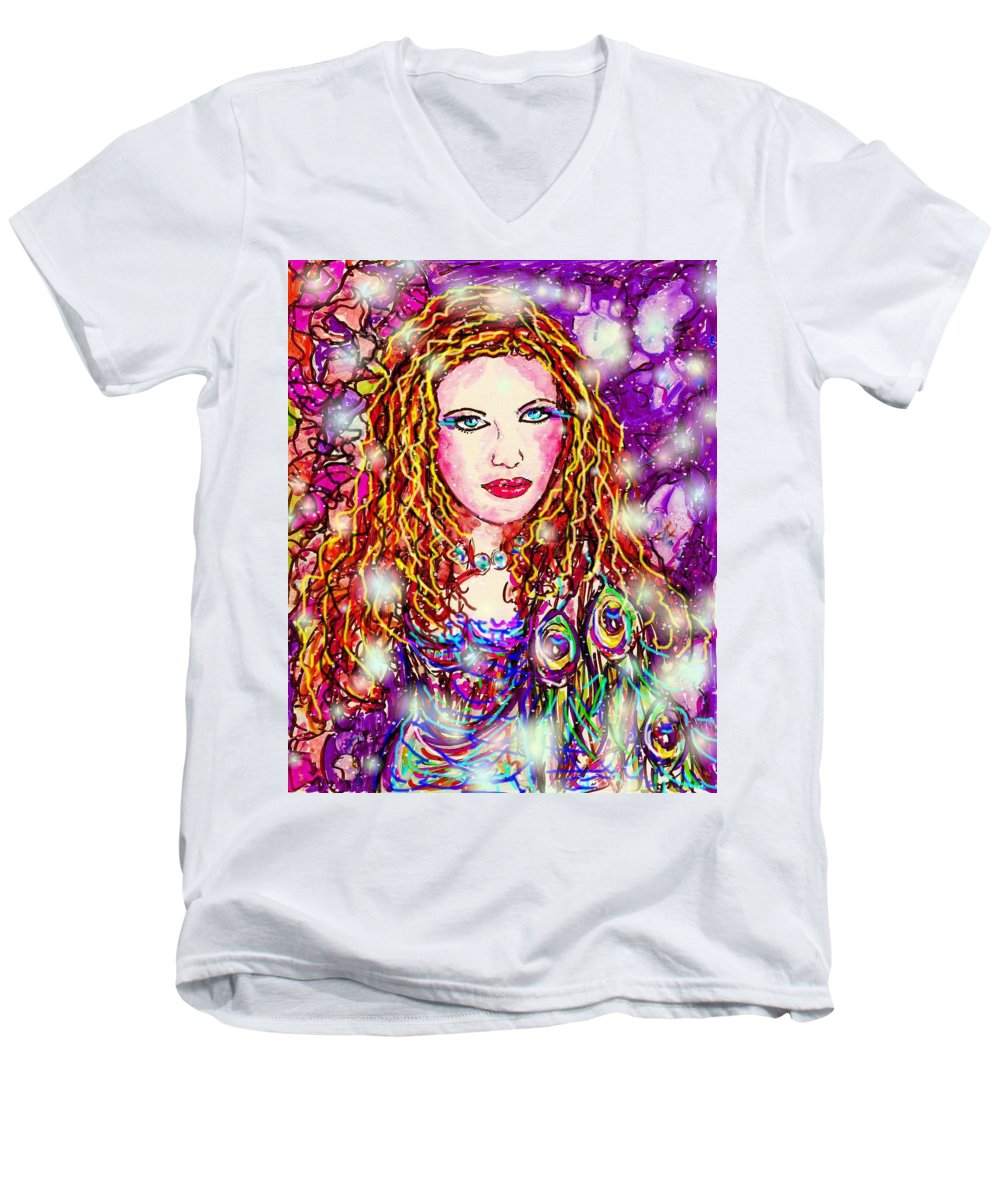 Female Men's V-Neck T-Shirt featuring the digital art Fancy Lady by Natalie Holland